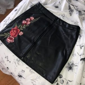 Leather Black Floral Skirt